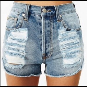 Mink Pink Slasher Denim Shorts